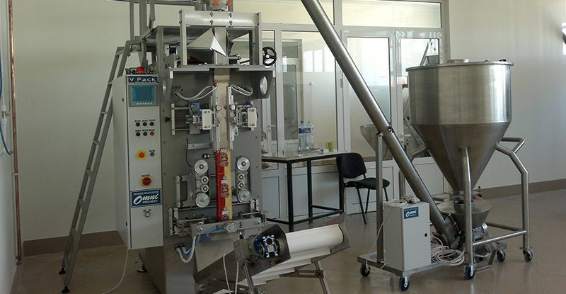 Vertical form fill and seal machine for powder product packaging